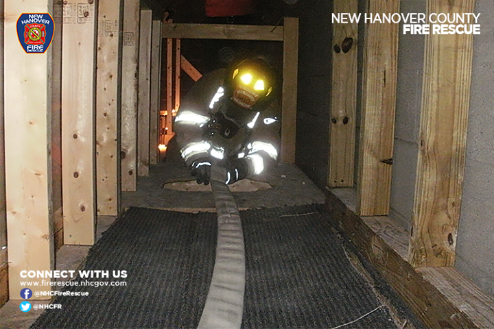 Our firefighters train and learn how to maneuver through tight, small, dark places in an effort to rescue those trapped in fires or harmful situations. #SavingLives #NHCFR