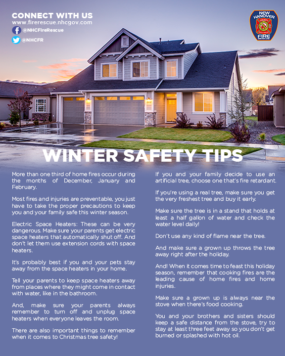 #DYK that More than 1/3 of home fires occur in the months of Dec-Feb, and that most are preventable. Kids, be #NHCFRSmart, parents read these safety tips to your children. #themoreyouknow #SafetyMatters #NHCFR