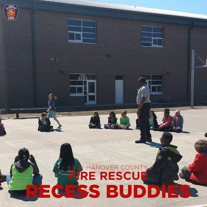 Our Recess Buddies - CRRC #BritneyMelvin, Cpt. #MikeWhitwam FF #Myron Davidson, and FF #TylerMorris were out at Castle Hayne Elementary School New Hanover County Schools playing Firefighter Safety Tag, Beep Beep Go, Sparky Says with the kids. #Playing+#Teaching=#Fun #NHCFR