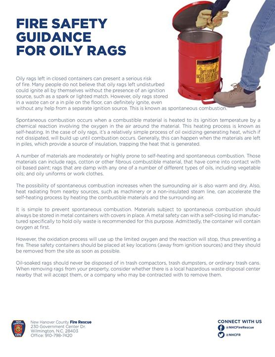#DYK Oily rags left in closed containers can present a serious risk of fire. #BeSafe #SafetyFirst #NHCFR