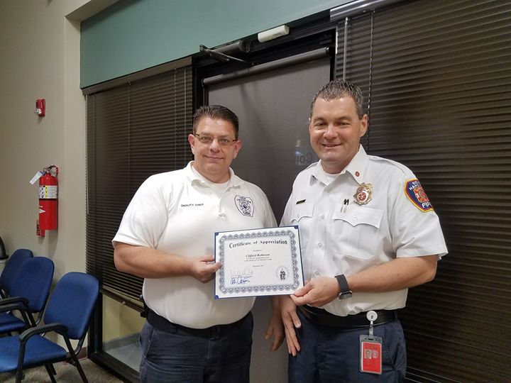 Congratulations Deputy Chief Cliff Robinson for 20 years of outstanding service to the department and the citizens of New Hanover County!