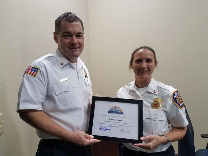 Congratulations Battalion Chief Jennifer Smith for receiving a New Hanover County Stellar Award for Community Service.  She received this award for her tireless efforts and work for the Boy Scouts of America!