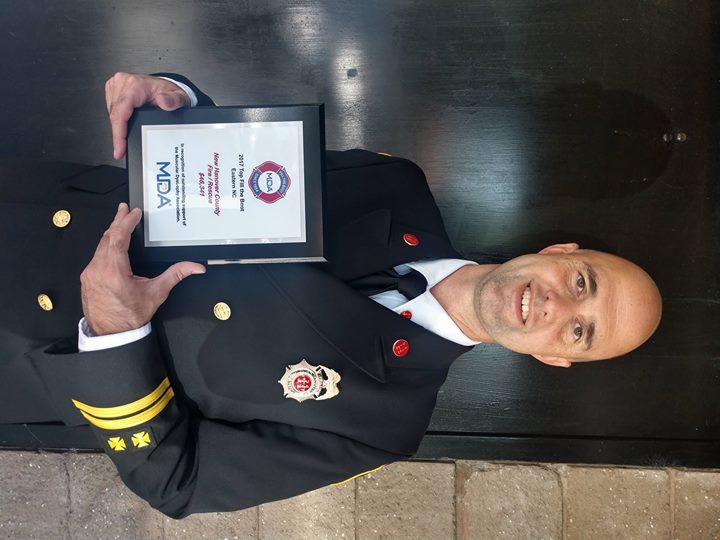 New Hanover County Fire Rescue recieved an award from #MDA for raising $46,341. #NHCFR