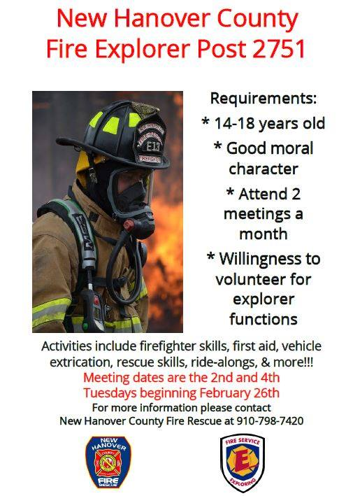New Hanover County Fire Rescue would like all youth interested in firefighting ages 14-18 to join Explorer Post 2751. Want to learn more or register please call 910-798-7420. #NHCFR #ExplorerPost