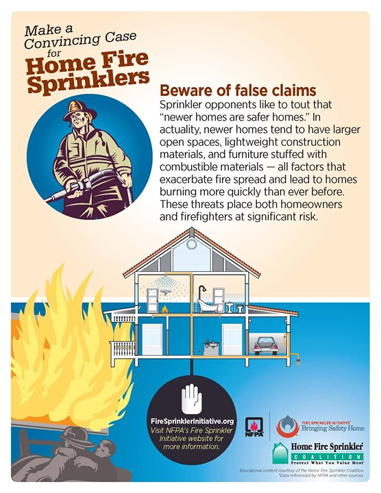 #HomeFireSprinklerWeek Fact: Newer homes tend to burn more quickly. #NHCFR